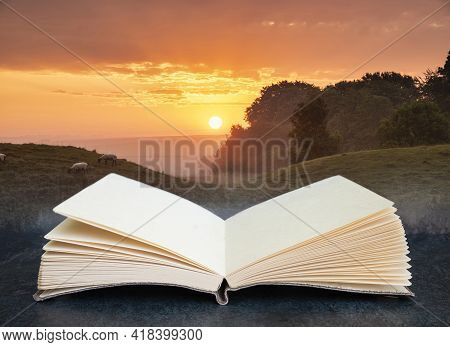 Beautiful Summer Sunrise Landscape Of Neolithic Standing Stones In English Countryside In Pages Of I
