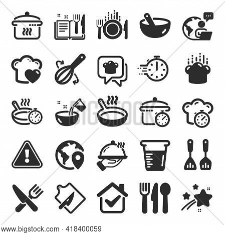 Cooking Icons. Boiling Time, Frying Pan And Kitchen Utensils. Fork, Spoon And Knife Icons. Recipe Bo