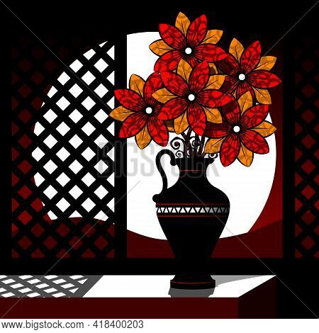 Stylized Still Life With Flowers In A Vase. Vector Illustration.
