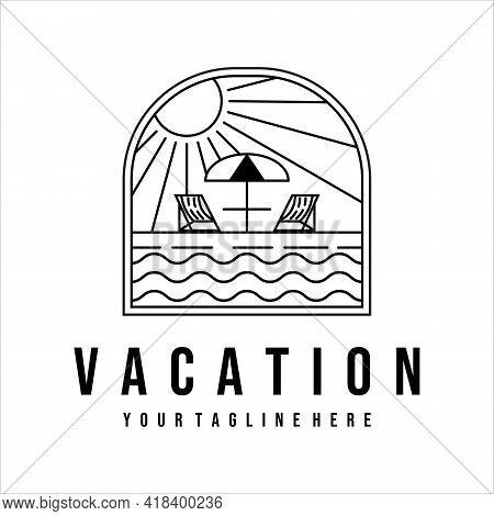 Vacation On The Beach Logo Line Art Illustration Template Design. Tropical Island With Terrace Cafe