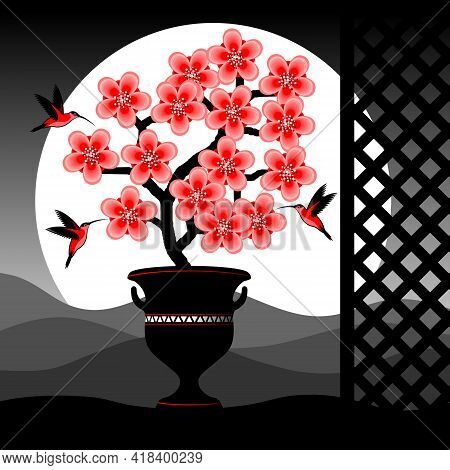Blooming Tree With Pink Flowers. Birds And Flowering Branch. Vector Illustration.