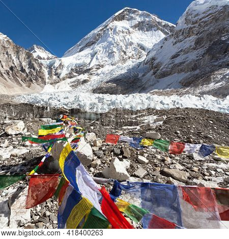 View From Mount Everest Base Camp, Tents And Prayer Flags, Sagarmatha National Park, Khumbu Valley,