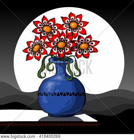 Abstract Still Life With Red Flowers In A Vase Against The Background Of A Night Landscape. Vector I