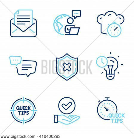 Technology Icons Set. Included Icon As Approved Checkbox, Time Management, Tips Signs. Quick Tips, M