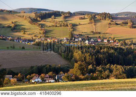 Autumn View From Bohemian And Moravian Highland, Vecov Village, Zdarske Vrchy,  Czech Republic