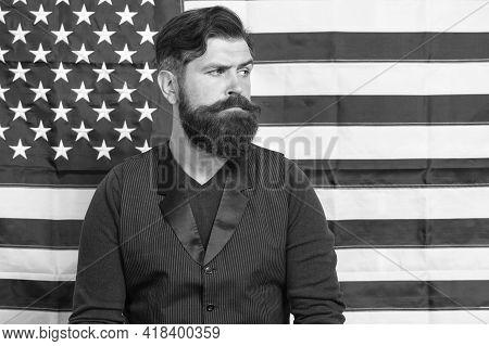 Bearded Man Migrant Apply For Citizenship Usa Flag Background, Government Politics Concept