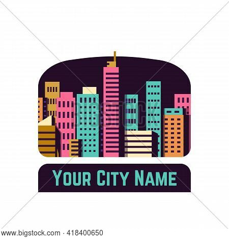 City With Buildings And Skyscrapers On Dark, Night Background. Colored Buildings, Skyscrapers. Flat