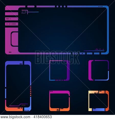Set Of Frames For Images Or Icons. Modern Style Gradient Colors Ui. Retro, 80s Style Future Interfac