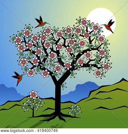 Stylized Landscape With Flowering Tree And Birds. Vector Illustration.