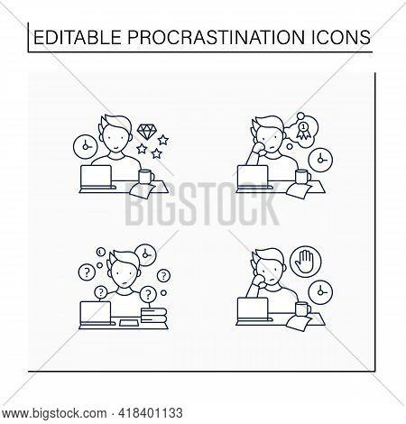 Procrastination Line Icons Set. Perfectionist, Dreamer, Overdoer Procrastinator. Overwhelmed Concept