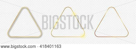 Set Of Three Gold Glowing Rounded Triangle Frames Isolated On Transparent Background. Shiny Frame Wi