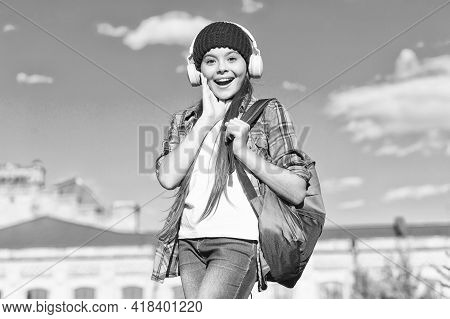 Keep Calm And Listen On. Happy Kid Listen To Music Sunny Outdoors. Learning Language. Listening Comp