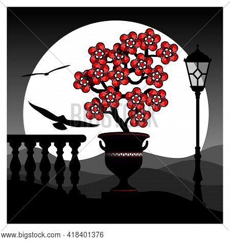 Stylized Landscape With Red Flowers.  Blooming Tree With Red Flowers Against The Background Of An Ab
