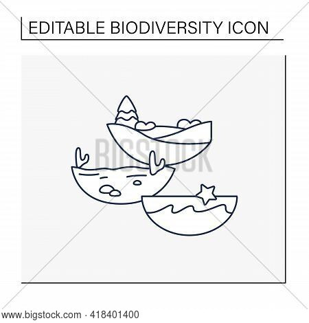 Ecosystem Diversity Line Icon.ecosystems Variety , By Their Nature And Number, Living Species Intera