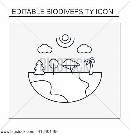 Species Diversity Line Icon.describe Diversity Of Living Species. Included Insects, Animals, Plants,