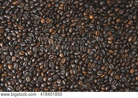 Roasted Brown Coffee Beans. Top View. Coffee Background Texture. Banner.coffee Beans With Copy Space