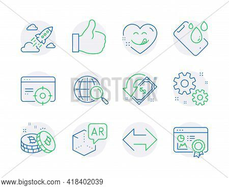 Technology Icons Set. Included Icon As Like, Sync, Work Signs. Smartphone Waterproof, Web Search, Se