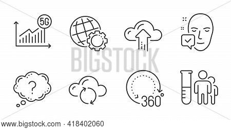 Globe, Cloud Sync And Question Mark Line Icons Set. Medical Analyzes, Face Accepted And Cloud Upload