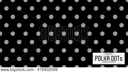 Dots Pattern Vector. Polka Dot Background. Monochrome Polka Dots Abstract Background. Dot Pattern Pr