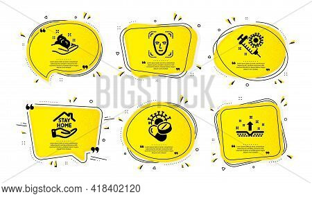 Stay Home, Skin Care And Face Detection Icons Simple Set. Yellow Speech Bubbles With Dotwork Effect.