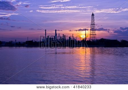 Oil Refinery Factory At Twilight