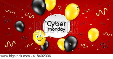Cyber Monday Sale. Balloon Confetti Vector Background. Special Offer Price Sign. Advertising Discoun