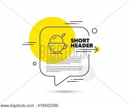 Coffee Cup With Ice Cream Line Icon. Speech Bubble Vector Concept. Vanilla Sundae Sign. Frozen Summe