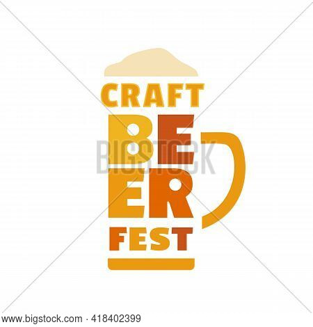 Beer Fest Hand Drawn Flat Color Vector Icon. Craft Beer Festival Cute Lettering Design Element. Beer