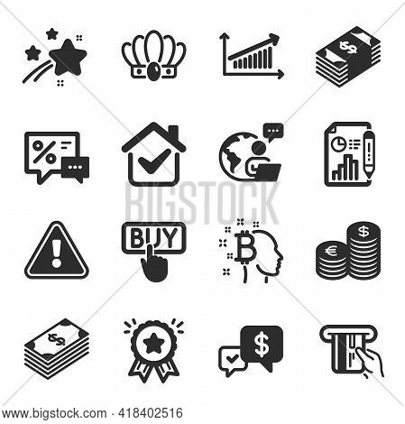 Set Of Finance Icons, Such As Usd Currency, Crown, Credit Card Symbols. Dollar, Bitcoin Think, Payme