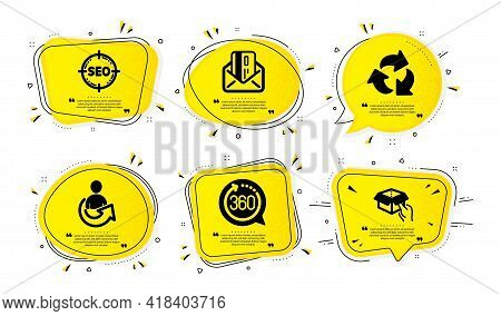 360 Degrees, Recycle And Seo Icons Simple Set. Yellow Speech Bubbles With Dotwork Effect. Share, Cre