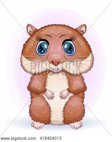 Baby Birthday Card, Boy Or Girl, Brown Hamster With Bright Eyes Or Guinea Pig. Baby Shower Hamster