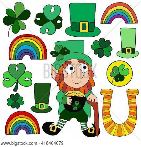 Irish-themed Set With A Leprechaun, Clovers, Rainbows, Top Hats, And Horseshoe Vector Illustration.