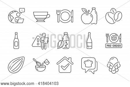 Beer, Americano And Ice Cream Line Icons Set. Pre-order Food, Coffee Beans And Champagne Bottle Sign