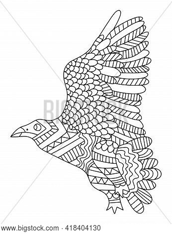 Big Wild Flying Bird Zen Art Coloring Page For Adults Stock Vector Illustration. Hand-drawn Ornament