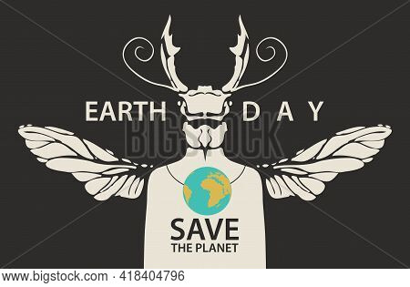 Creative Poster On Theme Of Environmental Protection. Earth Day. Vector Illustration Of A Mysterious