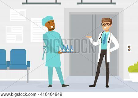Hospital Medical Staff, Practitioner Doctors Working In Medical Clinic Vector Illustration