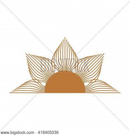Magic Concept, Half Vintage Sun With Cat's Eye, Trending Beige. Figure Astrology, Boho Design, Pagan