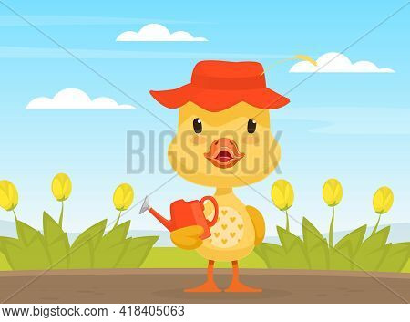 Adorable Duckling Holding Watering Can, Cute Little Bird Standing On Beautiful Summer Landscape Vect