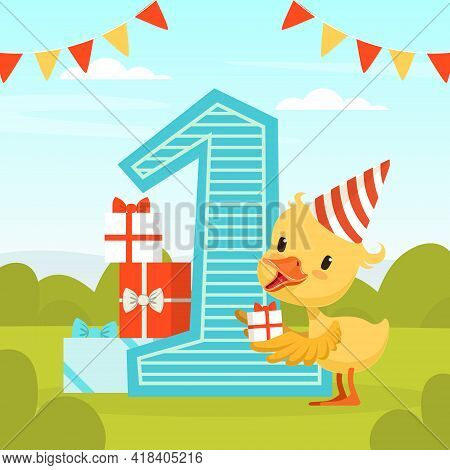First Birthday Party Banner With Cute Yellow Duckling Holding Gift Box Vector Illustration