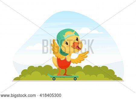 Cute Duckling Baby In Cap Riding Skateboard On Beautiful Summer Landscape Vector Illustration