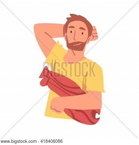 Top View Of Lying Young Man, Cheerful Man Lying On Isolated White Background With Pillow In His Hand