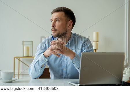 Man Sit At Home Office Desk With Laptop Thinking Of Inspiration Search Problem Solution Ideas Lost I