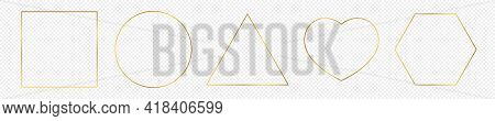 Set Of Five Gold Glowing Different Geometric Shape Frames Isolated On Transparent Background. Shiny