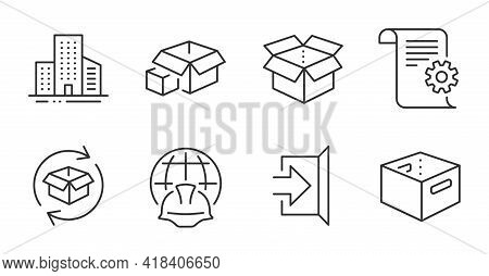 Return Parcel, Packing Boxes And Buildings Line Icons Set. Office Box, Global Engineering And Open B