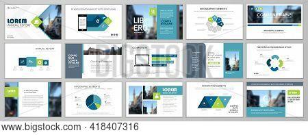 Presentation Slide Layout Background. Blue And Green Design Brochure Template. Use In Presentation,