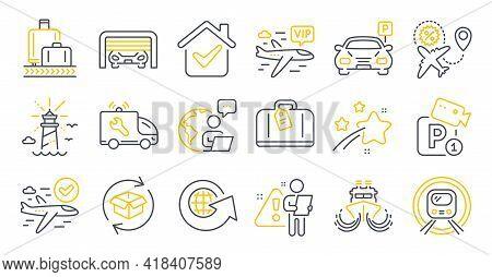 Set Of Transportation Icons, Such As Ship, Flight Sale, Car Service Symbols. Metro Subway, Parking G
