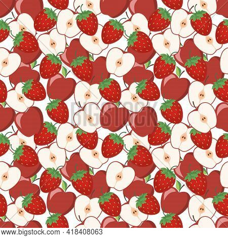 Seamless Background With Juicy Apple And Sweet Strawberries. This Is A Fruity Design For Your Busine