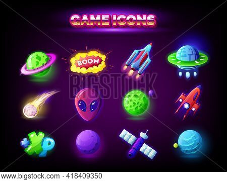 Mobile Game Icons Set Isolated On Dark Background. Gui Elements For Mobile App, Vector Illustration