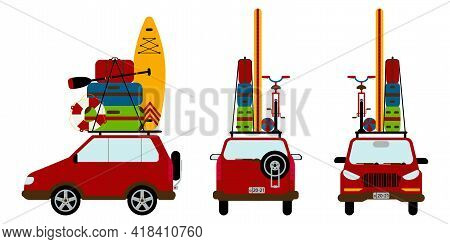 Set Of Cars In Red Color Isolated On Background. Travelling By Car. Necessary Things For Travel. Sui