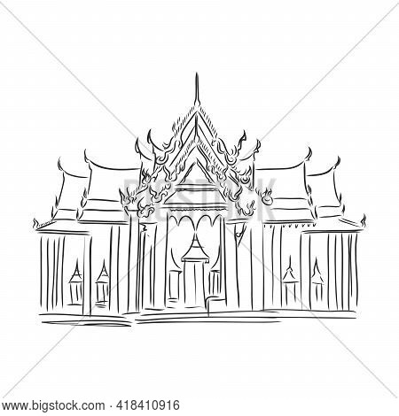 Buddhist Temple Illustration. Outline Stock Vector Sketch, Isolated On White Background